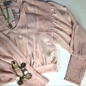 NWT ASOS Pink Blush Blouse with Bell Sleeves- 10